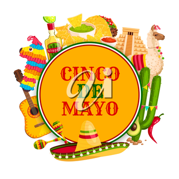 Cinco de Mayo festival poster with mexican holiday symbols. Sombrero hat, chili pepper and maracas, tequila margarita, flamenco guitar and cactus, taco, nacho and pinata frame for fiesta party design
