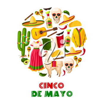 Mexican holiday greeting card for Cinco de Mayo fiesta party. Sombrero hat, chili pepper and jalapeno, maracas, cactus and tequila margarita, flag of Mexico and taco for festive poster design