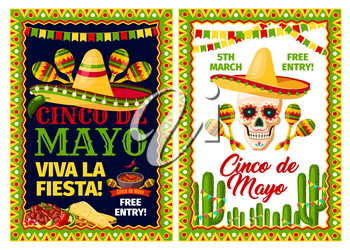 Cinco de Mayo mexican holiday party invitation banner set. Fiesta party sombrero hat, maracas and skull, chili and jalapeno pepper, cactus and festive food with frame in colors of Mexico flag