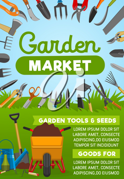 Gardening tool banner with agriculture equipment frame for garden market design. Shovel, rake and glove, watering can, spade and wheelbarrow, fork, pitchfork and secateurs, bucket, scissor and axe