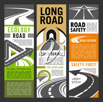 Ecology and safety on road banners. Safe trip brochure with text for long distance transportation. Car journeys through highways of high quality, life protection and precaution signs leaflet vector