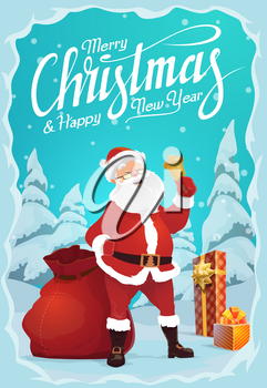 Merry Christmas and Happy New Year greeting card. Vector Santa Claus and gold jingle bell, gift box and sack of presents. Winter holiday celebration, forest in snow, fairy character and fir or spruce