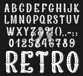 Vintage retro font letters and numbers set. Vector set of western art design lettering with alphabet, special symbols and pucntuation signs