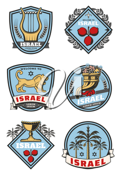 Israel travel and culture icons of traditional Jewish symbols. Vector heraldic set of Judaism religion David star, Torah book or Shofar horn and holy grail or lion on shield crest