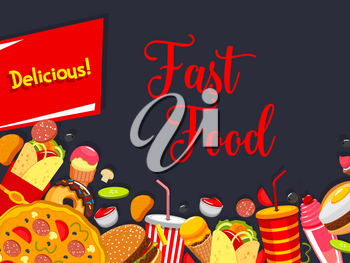 Fast food poster with junk burger and drink. Hamburger, pizza and donut, cheeseburger, soda and coffee, burrito, ice cream and milkshake with copy space in center for restaurant menu cover design