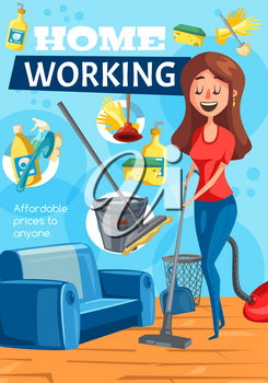 Home cleaning service, clean house working poster. Vector housewife woman with vacuum cleaner mopping floor with soap detergent and furniture upholstery cleaning sponge brush