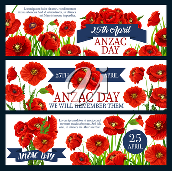Anzac Day poppy flower banner for Australian and New Zealand Army Corps Remembrance Day design. Red flower bunch with green leaf and ribbon banner for World War soldier and veteran memorial card
