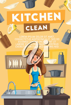 Kitchen cleaning banner for household or housework themes design. Housewife washing dishes in kitchen sink with detergent and sponge, surrounded with plate, cup and utensil, pan and grater icon