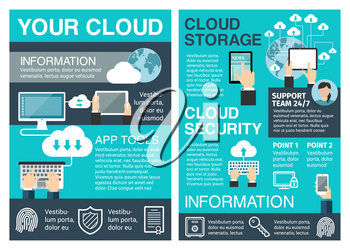 Business cloud computing poster of network and data storage technology concept. Secure cloud storage with connected computer, laptop and mobile device for information security and mobile app design