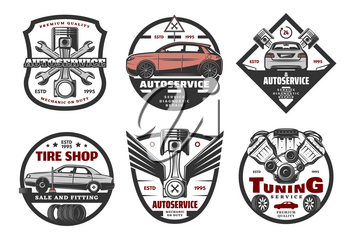 Vector icons for car service or tire shop, isolated on white background. Tuning auto service for cars creative emblems. Autoservice premium quality concept