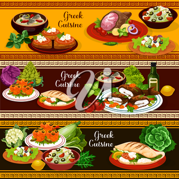 Greek cuisine traditional food for mediterranean menu banners. Pita bread gyro with meat and feta cheese, vegetable salad and grilled fish, yogurt cucumber sauce tzatziki, fish soup and baked lamb