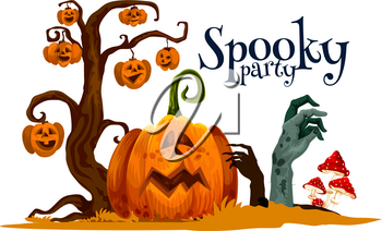 Halloween pumpkin festive card for spooky party invitation design. Horror cemetery tree with autumn jack o lantern, zombie monster hand and poisonous mushrooms for october holidays celebration
