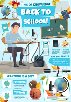 Back to school information poster with education tips and class supplies icons. Student sitting at desk with book, microscope and globe, pencil, pen and ruler, blackboard and backpack banner design