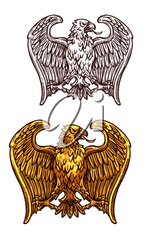 Golden eagle heraldic bird. Gold insignia of eagle, hawk or falcon with open wing and sharp feather isolated icon. Tattoo, medieval coat of arms or heraldry themes design