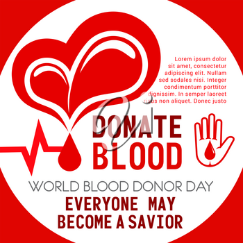 Donate Blood poster of heart and helping hand for Donor Day or social volunteering. Vector blood drop and heartbeat pulse design for 14 June charity action event of World Donation day