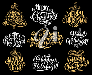 Merry Christmas lettering calligraphy for Xmas and Happy New Year greeting card. Vector design of Christmas tree with star decoration and gift or candy cane for winter holidays celebration