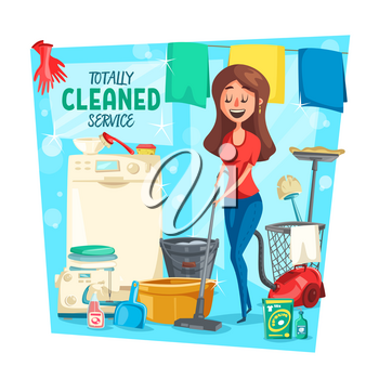 Home cleaning service, vector. Cartoon housewife woman with laundry in washing machine, vacuum cleaner or sponge and polisher or detergent soap mopping floor