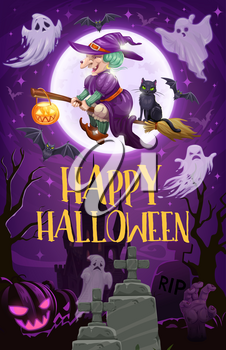 Halloween witch flying on broom vector design of sorceress with broomstick, black cat and pumpkin lantern, ghosts, bats and full moon, cemetery and zombie hand. Horror party invitation
