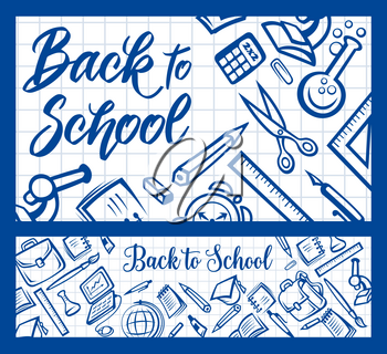 Back to School checkered notebook pattern with education stationery supplies. Vector Back to School poster of student bag, study books, pens and pencils, microscope or laptop computer and paint brush