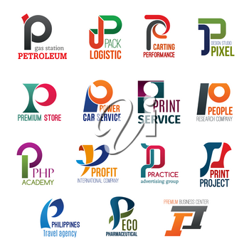 Corporate identity letter P business icons. Vector gas and logistic, transport and design, shopping and repairing, science and typography. Education and finance, advertising, travel and ecology