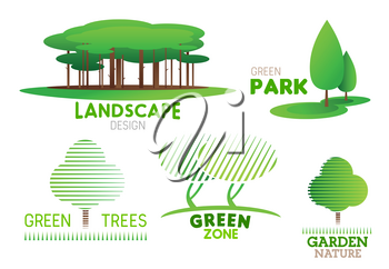 Landscape design and green horticulture service company icons for on park and garden landscaping. Vector symbols of forest trees for urban ecology nature gardening and planting