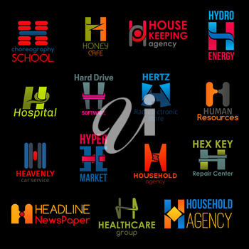 H letter icons, corporate identity symbols and business company signs. Vector H choreography school, cafe or housekeeping agency, hydro energy industry or medical healthcare hospital and hyper market