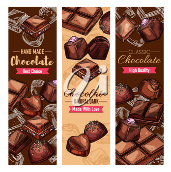 Chocolate candies, handmade desserts. Vector confectionery, cocoa sweets of dark chocolate with nuts and caramel. Choco treats, natural black chocolate of heart and square shape, comfit snacks