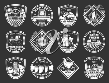 Farm and agriculture, meat and dairy food product icons. Vector cattle farm house, agrarian fruits and vegetables harvest, wheat and rye mill at barn, farmer tractor and poultry chicken
