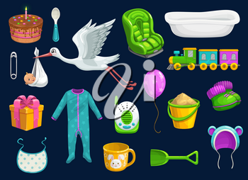 Baby care item icons of baby shower vector design. Toys, bib and milk cup, spoon, pin and stork, balloon, socks and bath, pyjama, car seat and baby monitor, gift box, cake and hat, sand pail, shovel