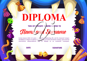 Children school diploma with Halloween sweets. Kids education achievement award, child graduation vector diploma or certificate. Cartoon monster toothed mouth, Halloween lollipop candy and jelly worms