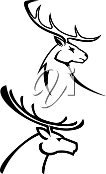 Deer silhouettes in monochrome style for tattoo or hunting design