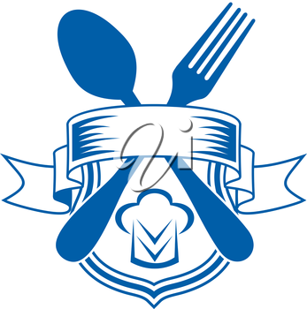Vector cartoon illustration of a restaurant or caterers emblem with a ribbon banner over a shield and crossed spoon and fork