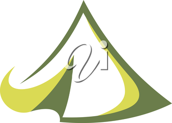 Green tent in the tepee style for travel sports design