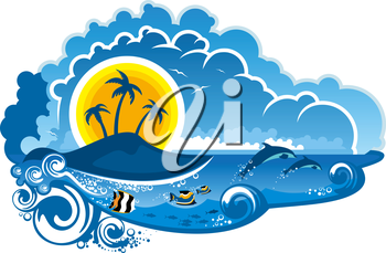 Tropical island paradise with leaping dolpins, fish swimming underwater, palm trees and sunshine for an idyllic summer vacation, cartoon illustration