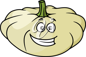 Happy cartoon pumpkin or squash vegetable with a wide toothy grin isolated on white