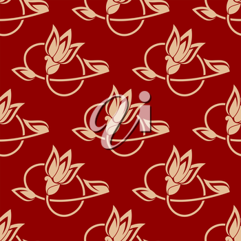 Pretty flowing repeat floral pattern in a seamless design on a red background, square format vector illustration