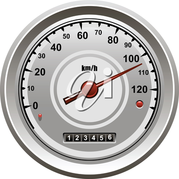Vector illustration of a speedometer icon from a car or vehicle isolated on white