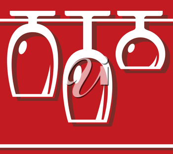 Pub or bar icon  with the clean glasses hanging drying in a rack ready to serve customers, vector outline illustration on red
