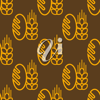 Seamless repeat pattern of a French baguette and an ear of ripe golden wheat on a brown background in square format, vector design