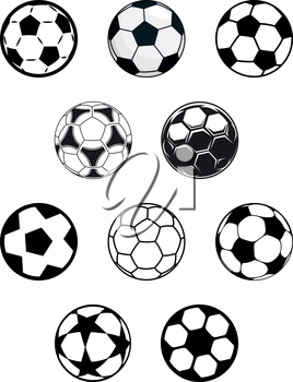 Set of different black and white soccer or football balls with a variety of pentagonal patterns, isolated on white background