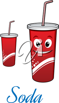 Cartoon cute cola or soda character with straw isolated on white. For fast food and drink design