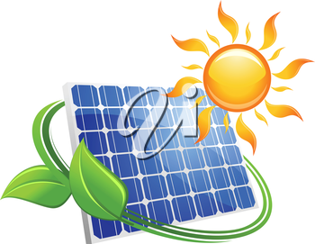 Solar energy eco concept with a blue photovoltaic panel under a hot yellow sun with curling green leaves, vector illustration on white