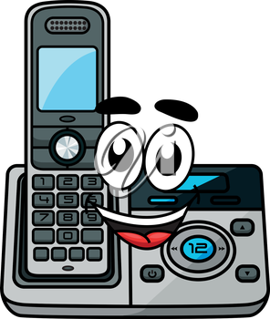 Cordless phone in cartoon style, suitable for communication and technology design