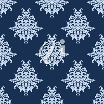 Floral retro light blue seamless pattern on dark blue colored background, for backdrop, wallpapers and textile design