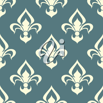 Seamless beige color floral arabesque pattern with damask style motifs suitable for wallpaper, tiles and fabric design isolated over light gray background
