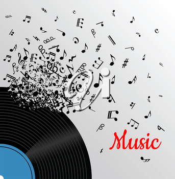 Retro music vintage poster with vinyl disc and explosion of musical notes for media and entertainment design