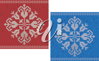 Red and blue detailed snowflake knitted pattern