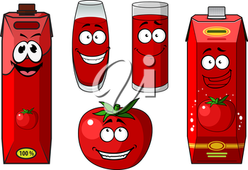 Colorful red cartoon fresh tomato and tomato juice icons showing two containers for juice, two glasses and a fresh vegetable all with smiling faces, vector illustration