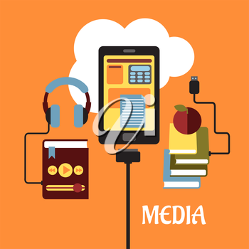Multimedia flat concept with headphones connected to an MP3 player, tablet showing various online apps and books connected to the cloud for e-learning, vector illustration