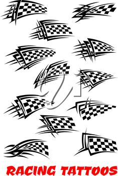 Checkered flags set stylized as racing tattoos or icons